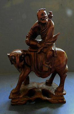 Chinese Carved Wooden Figure Of A Man Riding An Elephant - 19Th Century