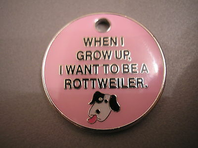 Personalised Engraved Comical Pet Id Tag -Rottweiler- Free P&p & Engraving