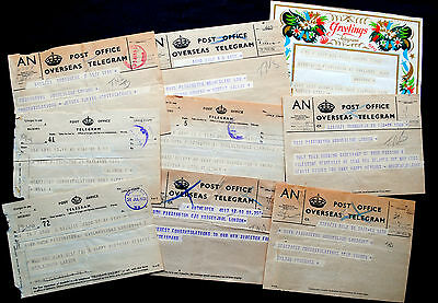 9 x original Post Office telegrams 1930s - 1950s. Most sent from overseas to UK.