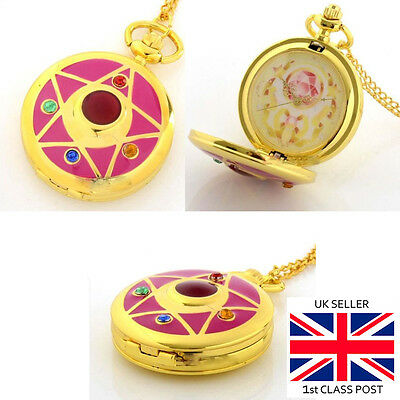 Sailor Moon Transformation Brooch pocket watch with long chain