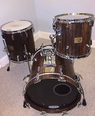 Sonor Signature Makassar Ebony Heavy Drum Kit 18/12/14Ft. Sonor Pedal And Cases