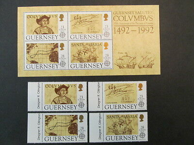 GUERRNSEY, SC# 467-470 & 470b, 500th ANN. of the DISCOVERY of AMERICA (1992) M
