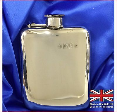 6 oz Pewter Hip Flask. Made in Sheffield UK.