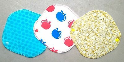 HANDMADE Reusable Cotton Cloth Menstrual Pads Liner set of 3 MADE IN MELBOURNE