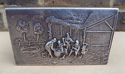 Large Vintage Embossed Metal Match Box Holder