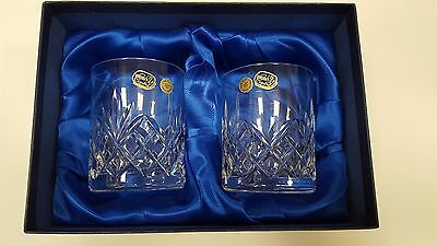 Pair of Bohemia Crystal Whisky Glasses / Tumblers 'Harmony' Cut - New In Box