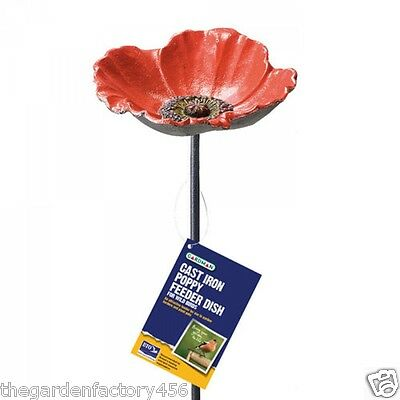 Gardman Cast Iron Poppy Feeder Water Dish Wild Birds Garden Gift Metal Stake