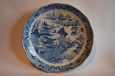 Blue and White Willow Pattern Dish or Shallow Bowl