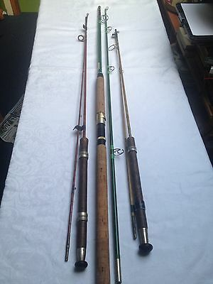 Vintage Fishing Rods , Ess 'octopus', Germina Sea Rod And 'the Glaspin' Rod