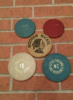Casino Chips and Wooden Nickel
