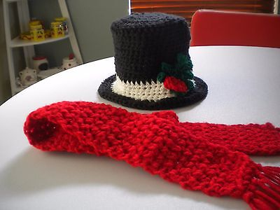 Crochet 6 to 12 Baby Snowman Photo Prop Top Hat & Scarf Christmas Holiday Prop