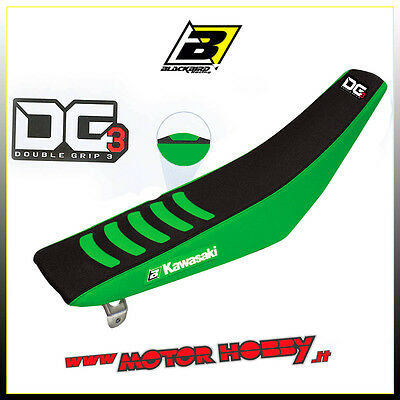 Copertina Sella Blackbird Kawasaki Kxf 250 - 450  Double Grip 3 Verde Nero