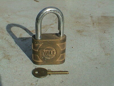 """Vintage Yale Brass Lock 3"""" overall Yale & Towne Mfg. Co Made in USA"""