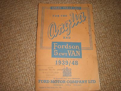 Original Spare Parts List for the Anglia and Fordson 5 cwt Van 1939/48