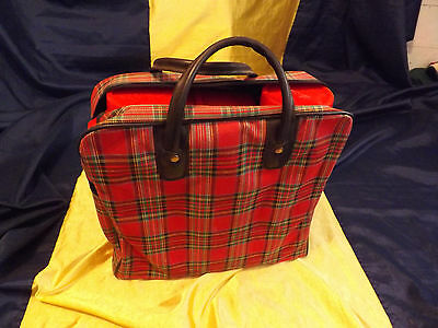 Vintage Red Plaid Aladdin Thermos Picnic Set With Zippered Bag