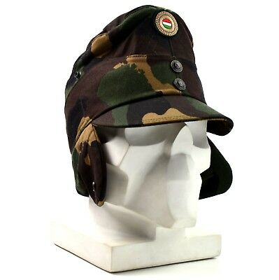 Genuine Hungarian camo army winter cap military field hat with color badge