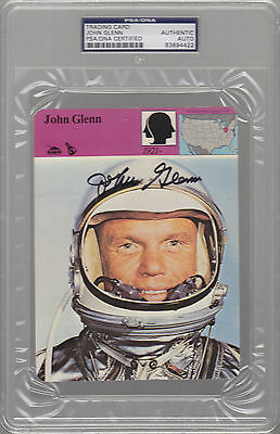 John Glenn Auto Signed Sportscaster PSA/DNA Authentic NASA ASTRONAUT SENATOR