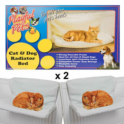 New x 2 Playful Pets Pet Cat Dog Animal Kitten Puppy Radiator Warm Fleece Basket
