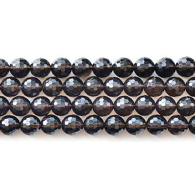 Natural Smoky Crystal Quartz Rock Gemstone Faceted Beads 15'' 6mm 8mm 10mm 12mm