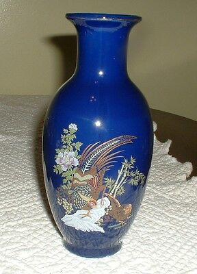 Birds Of Paradise Large Blue Vase-  Chinese-Porcelain-Cobalt