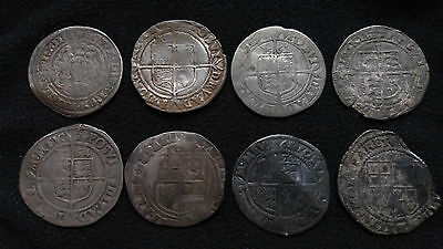 4 Elizabeth 1St Sixpence Hammered Silver Coins + 4 Other Hammered Silver Coins