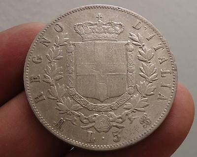 1869 Mb Italy 5 Lire *silver Crown*