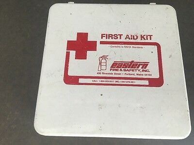 Vintage Eastern Fire & Safety First Aid Kit Full & Complete Red Cross Wall Mount