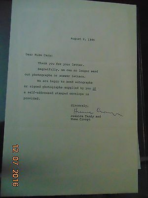 actor Hume Cronyn SIGNED typed letter * Cocoon * film stage Jessica Tandy