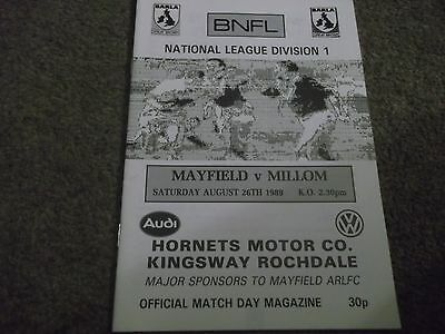 Mayfield V Millom Bnfl Rugby League National League Division 1 26Th August 1989