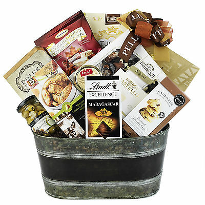 Gift Basket With Cookie Crumble Brie Antipasto Chocolate Pâté