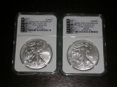 2011 & 2011-W NGC MS69 American Eagle Silver Dollar -  EARLY RELEASE - LOOK
