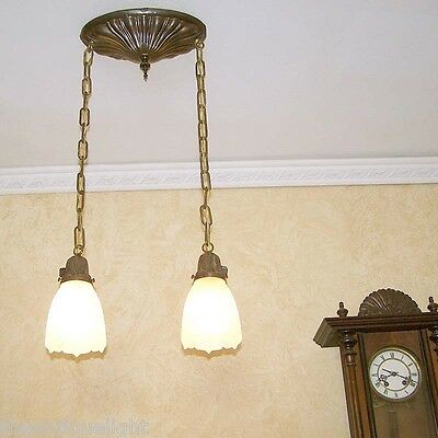 824 Vintage 20s 30s SHEIFIELD BRASS CEILING LIGHT lamp fixture glass hall bedroo