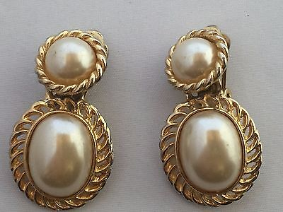 Vtg. Large Faux Pear With Gold Tone Dangle Clip-On Earrings~