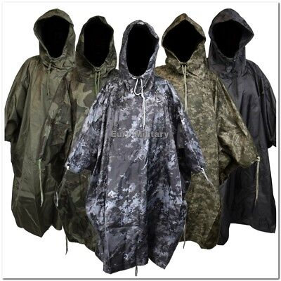 US Army Waterproof RipStop Hooded Rain Military Poncho Camping Hiking - New