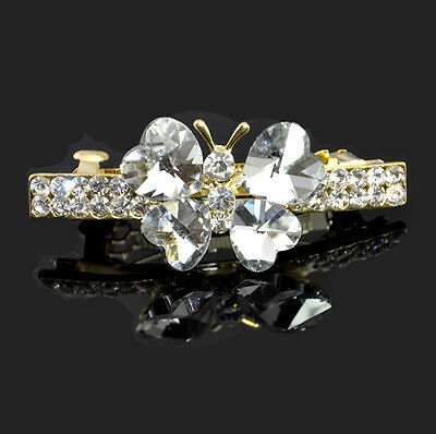 @pretty@Hand made Butterfly Crystal Hair clip/comb gold plated bridal kid gift