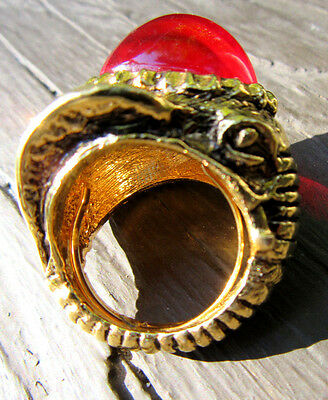Vintage Signed VENDOME Gold Tone & Red Cabochon Lucite ELEPHANT Ring
