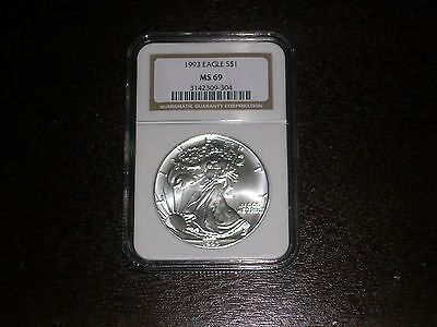 1993 $1 Silver Eagle NGC MS69 Gold Label LOOK