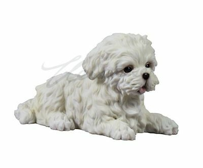 Maltese Puppy Statue Sculpture Figure - GIFT BOXED