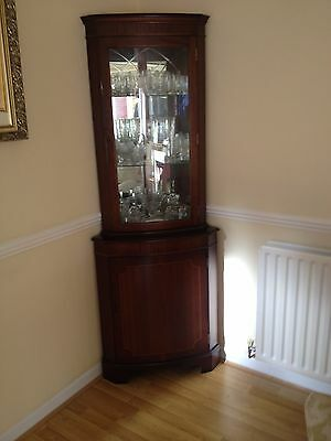 Antique Glazed Corner Cabinet, Tall Display Cupboard, Mahogany English