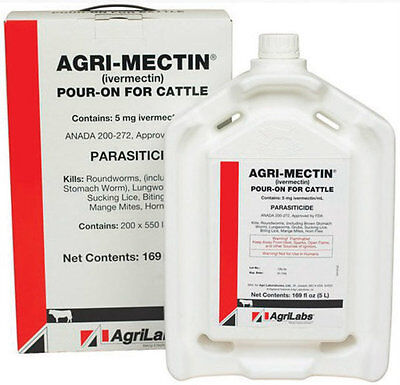 IVERMECTIN POUR-ON Dewormer for Cattle Combat Flies Lice Mange Mites 5 Liter