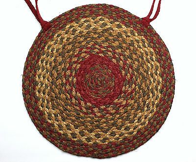 Country Primitve Farmhouse CINNAMON Braided Chair Pad