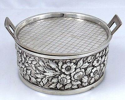 Kirk Repousse 11 oz Coin Silver Cheese or Butter Dish with Insert