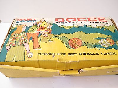 Vintage Sportcraft Bocce Ball Set With Original Box Made In Italy *See Condition