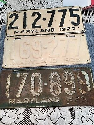 1925 27 29 Antique Metal Maryland MD License Plates Tags Average Cond