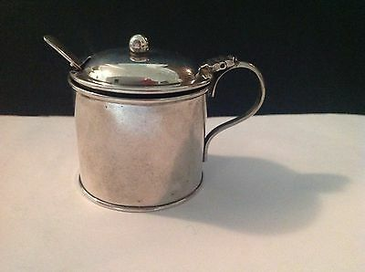 Antique solid silver MUSTARD POT/ and spoon