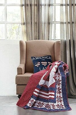 Primitive Country AMERICANA STAR Quilted Throw Shabby Chic Patriotic Red Blue