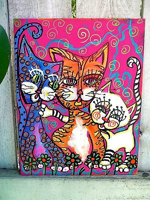 CATS Folk Art outsider painting original signed metal sign naive primitive Grant