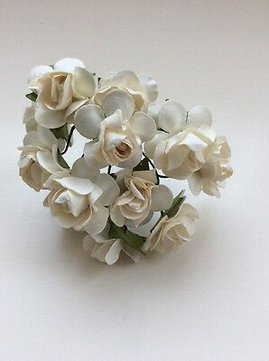 12 X 23mm Mulberry Paper tea rose flowers Ivory Flowers On Green Wire Stem