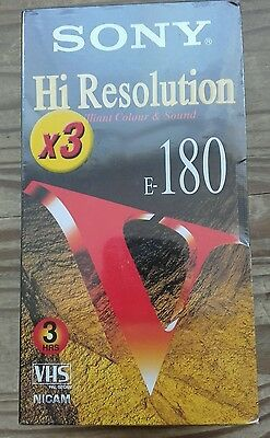 Sony Hi Resolution E180 E-180 3 hour blank VHS tapes x 3 bundle Brand new sealed