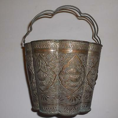Chinese Export Silver Bucket Silverplate 1900s repousse  southeast asian
